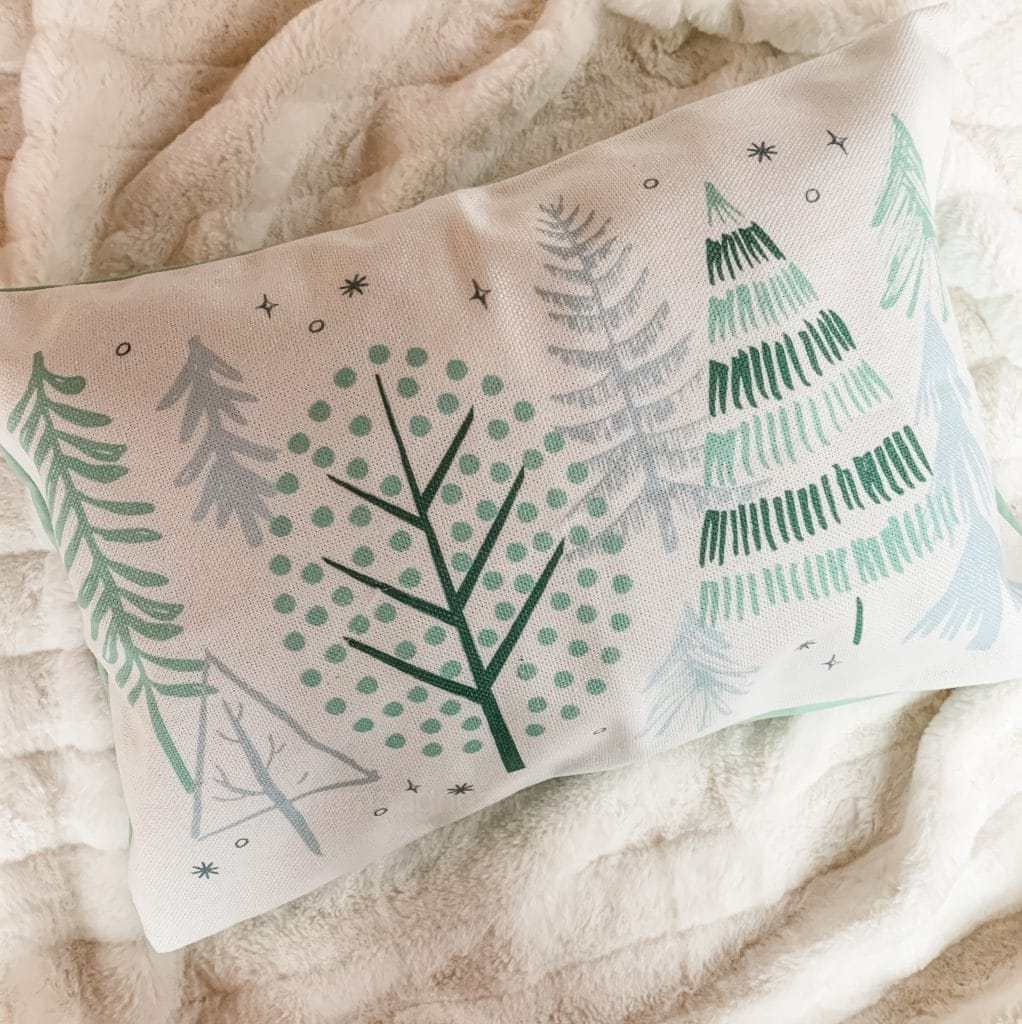 winter pillow with trees