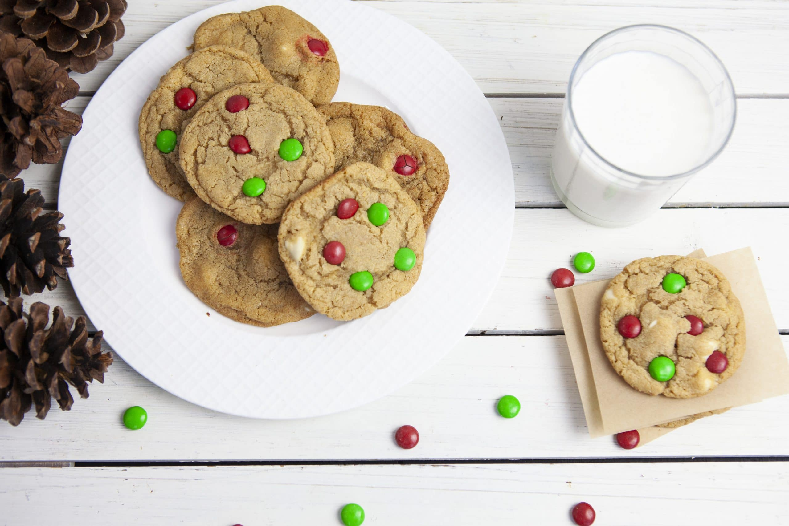 overhead of cookies on a plate