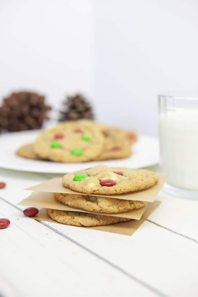 stack of cookies with a glass of milk