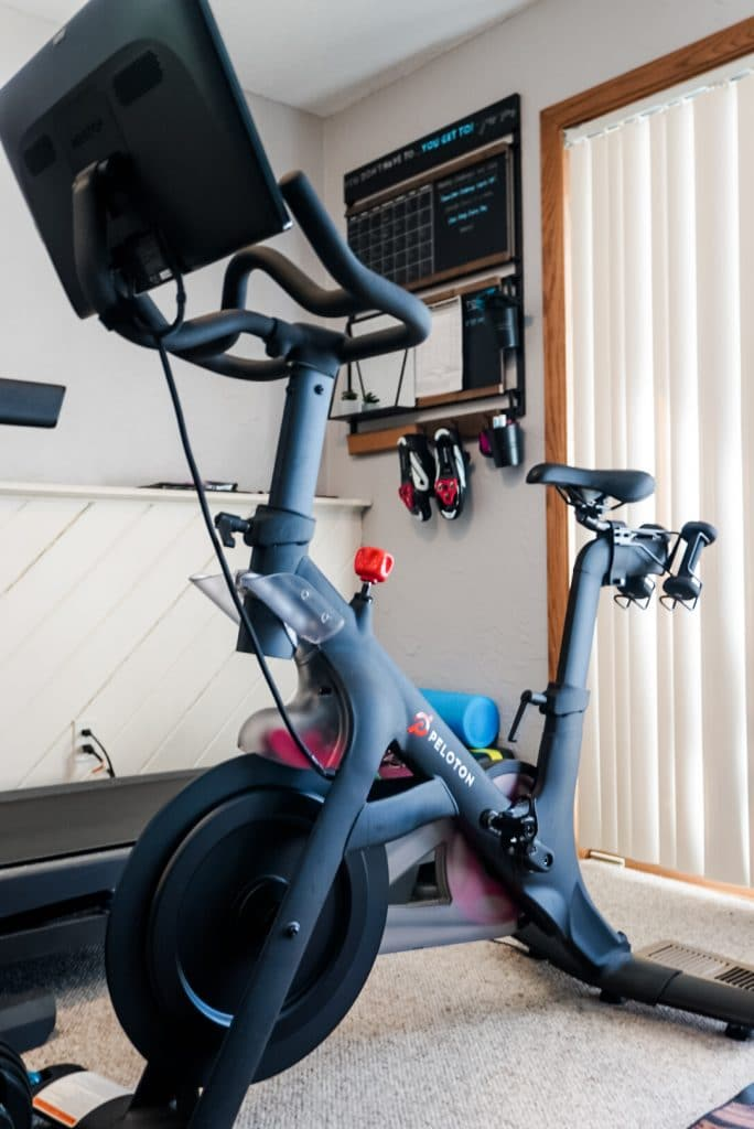 close up of peloton bike in home gym