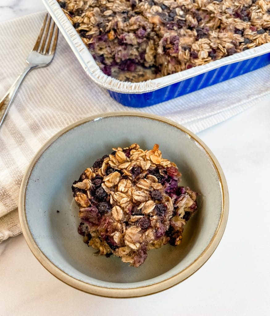 slice of blueberry baked oatmeal