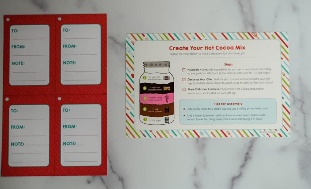 create your own hot cocoa mix card and gift tags