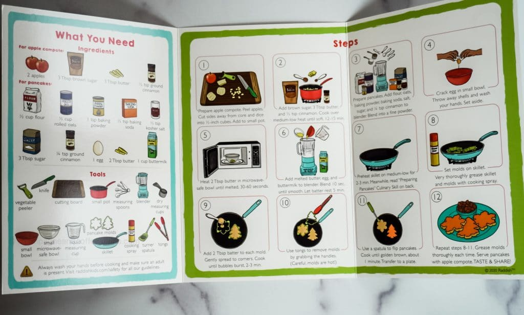 inside a raddish kids recipe card