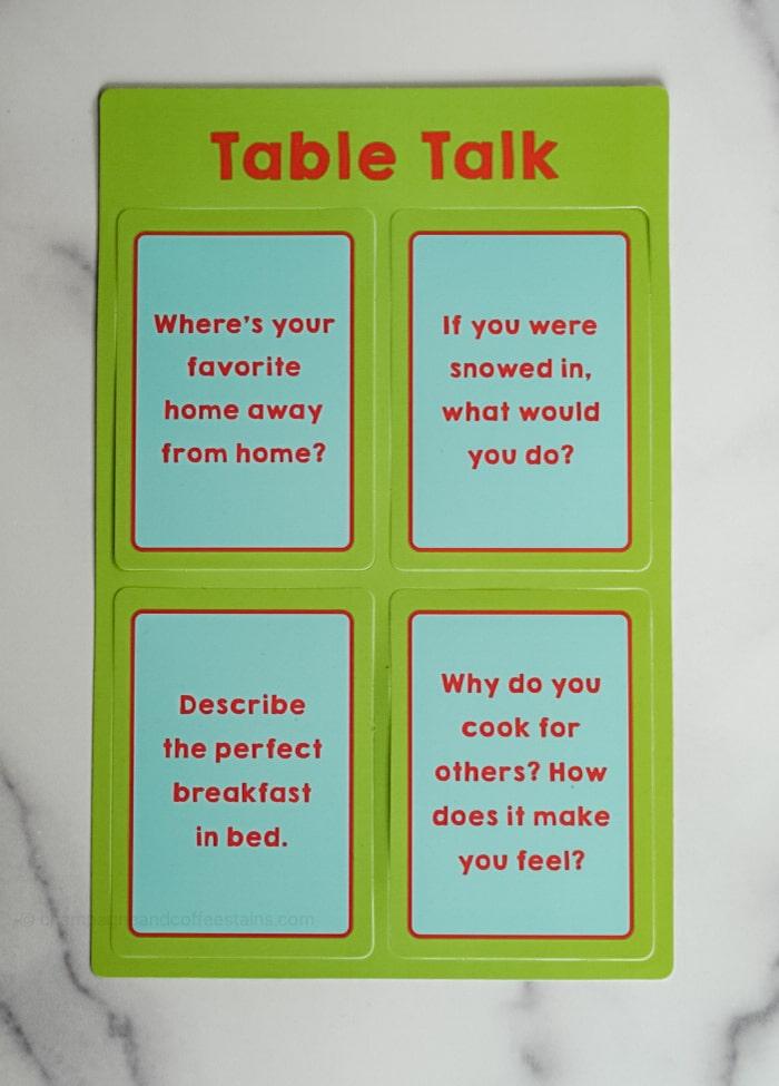 four table talk cards from the raddish snowed inn box