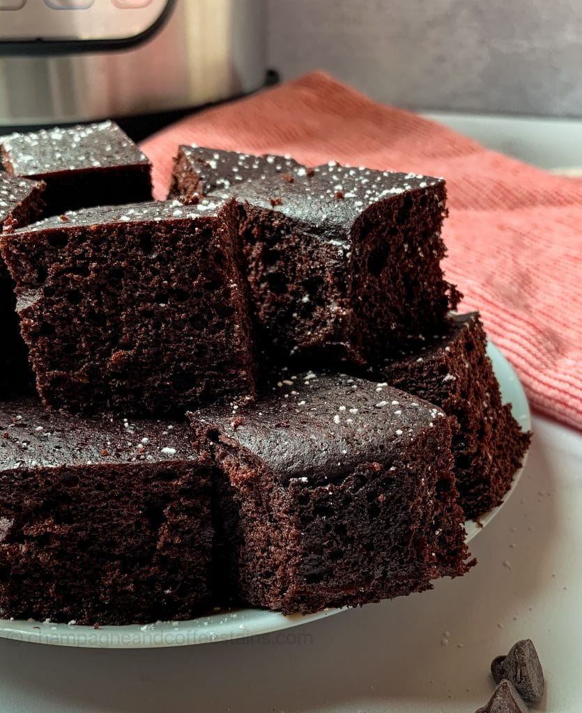 close up of brownies on a plate