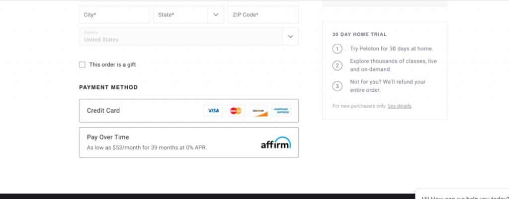 peloton check out screen with the affirm financing option