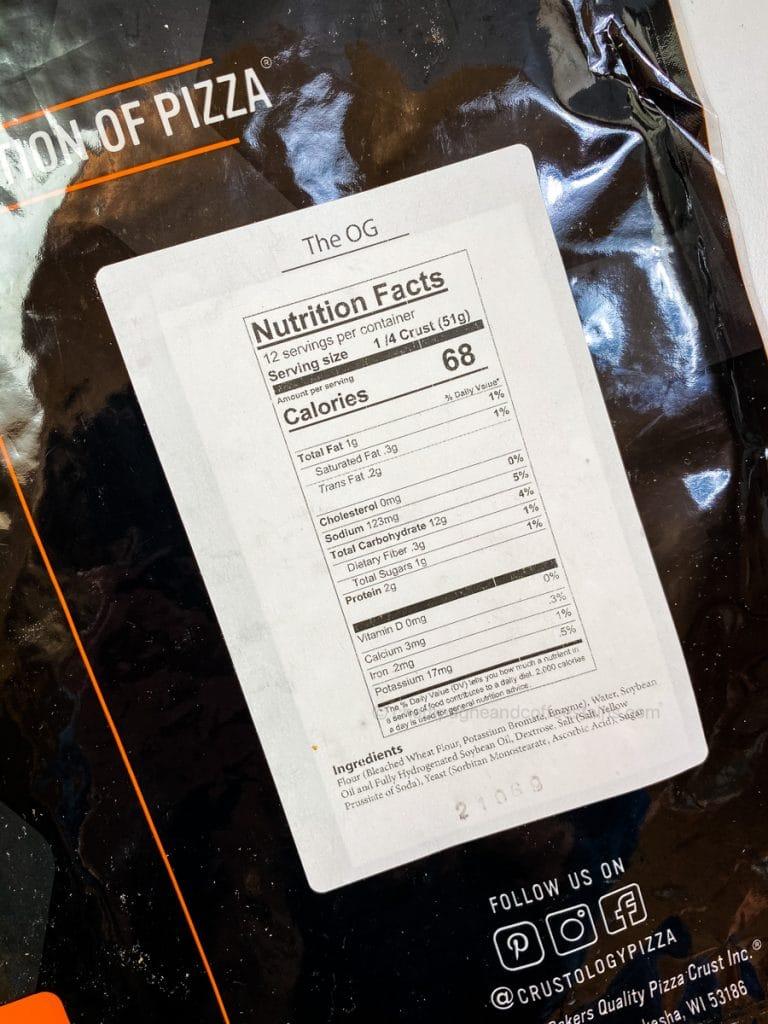crustology crust nutritional information