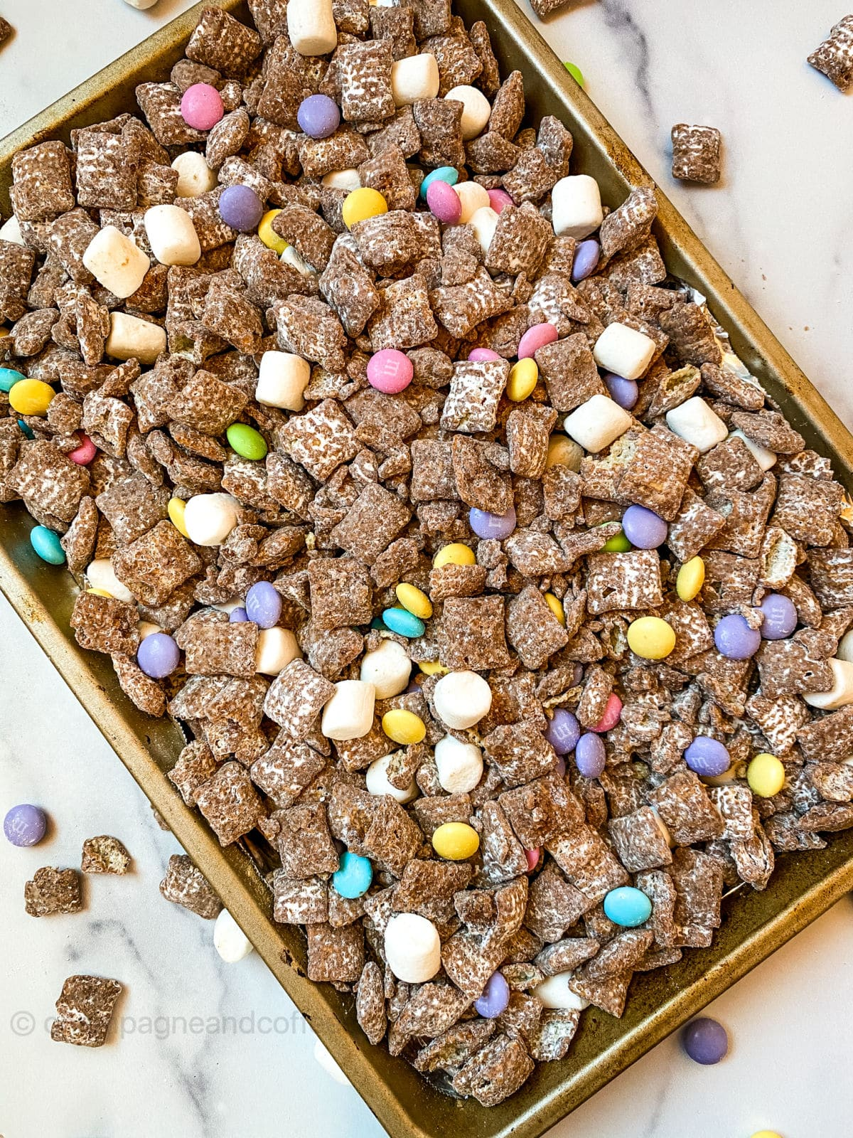 easter puppy chow on a tray
