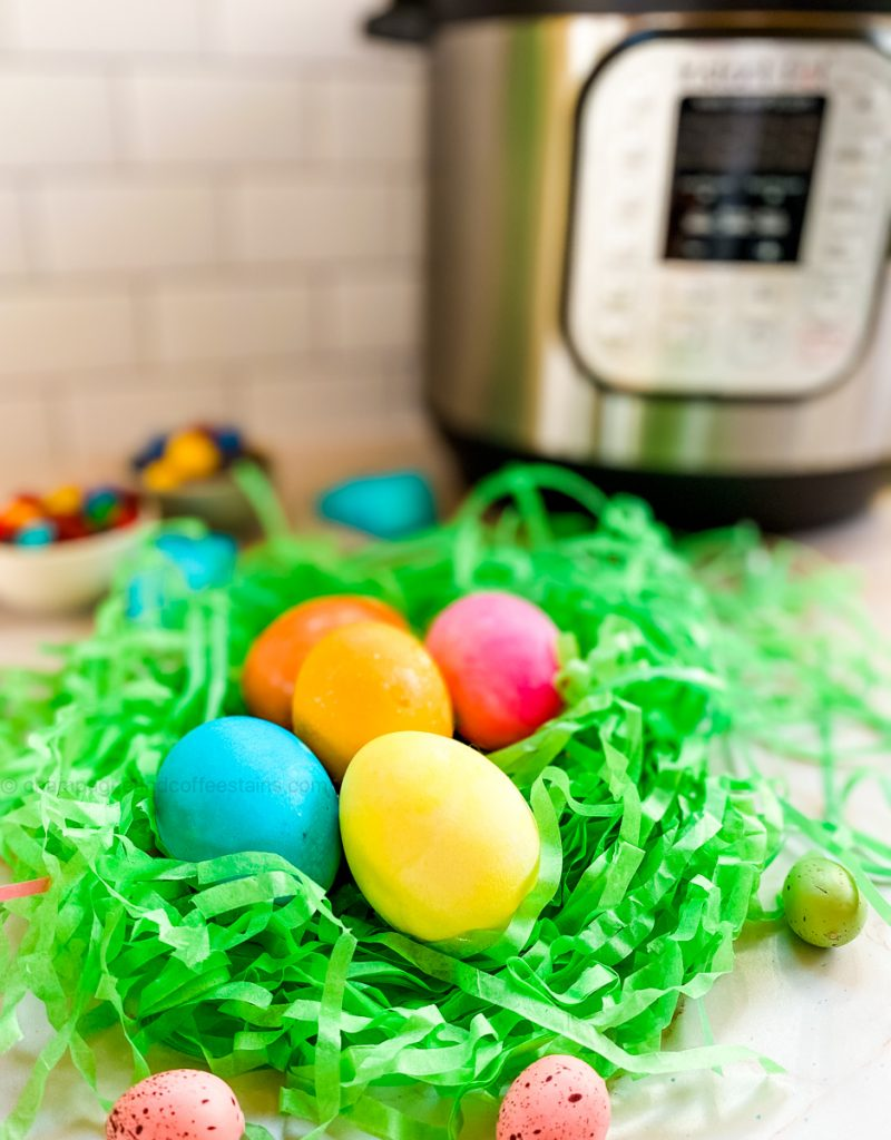 instant pot easter eggs on green grass