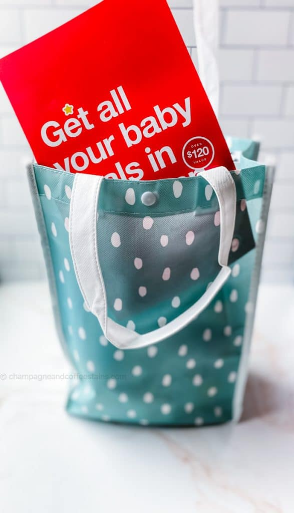 a blue target registry bag with coupon sticking out