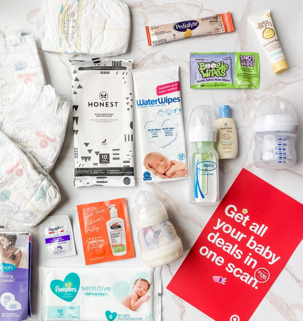 all the samples and coupons inside the target baby registry bag