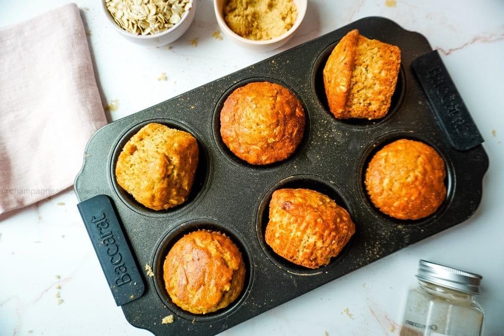 sideways brown sugar muffins in a tray