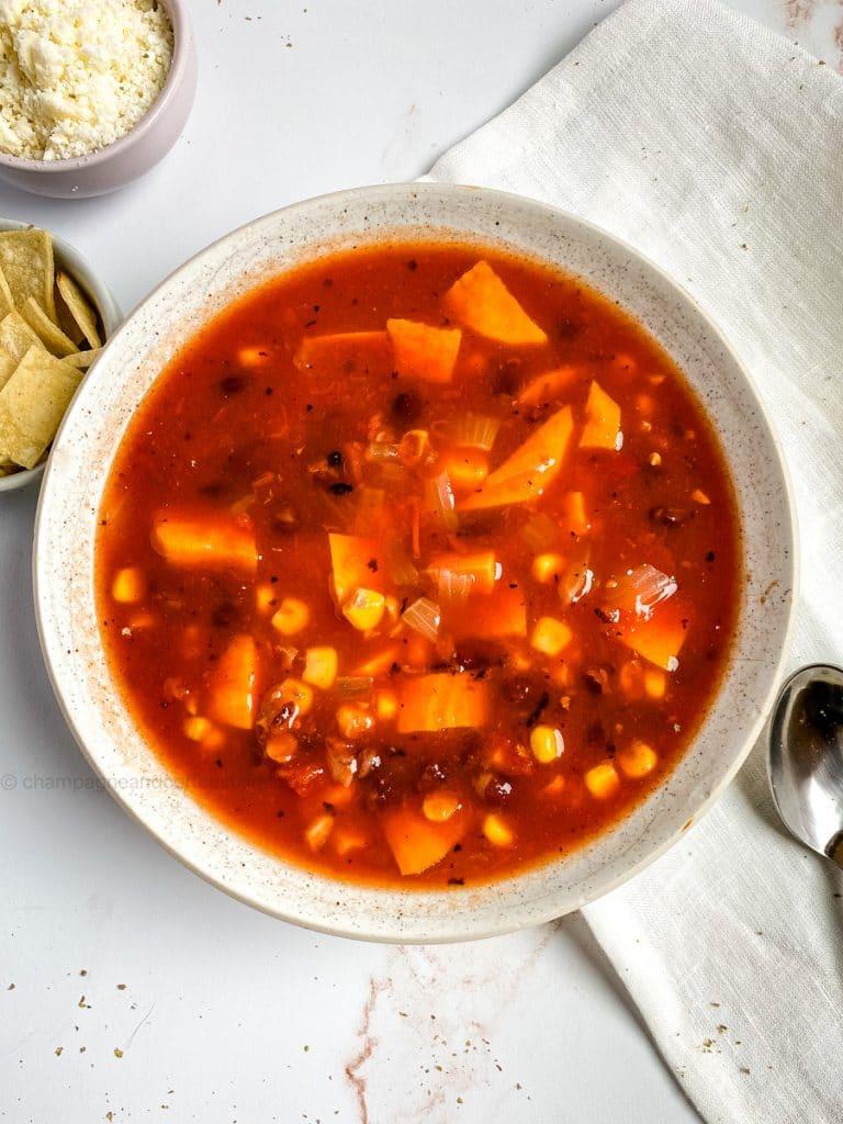 instant pot tortilla soup in a bowl