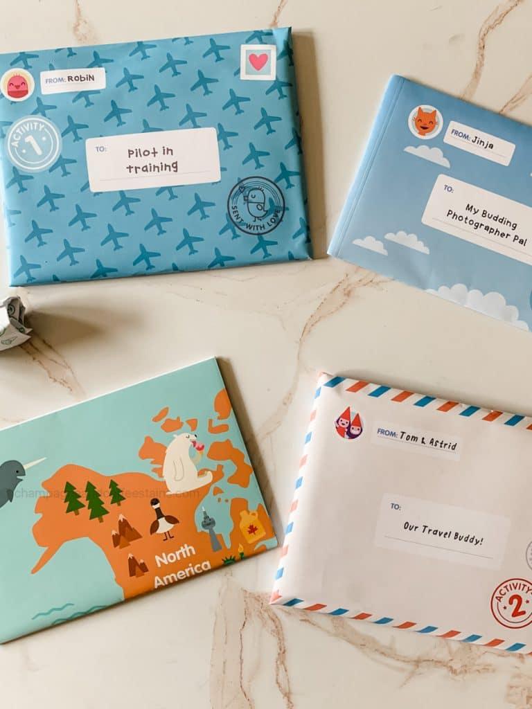 the 3 envelopes inside the box