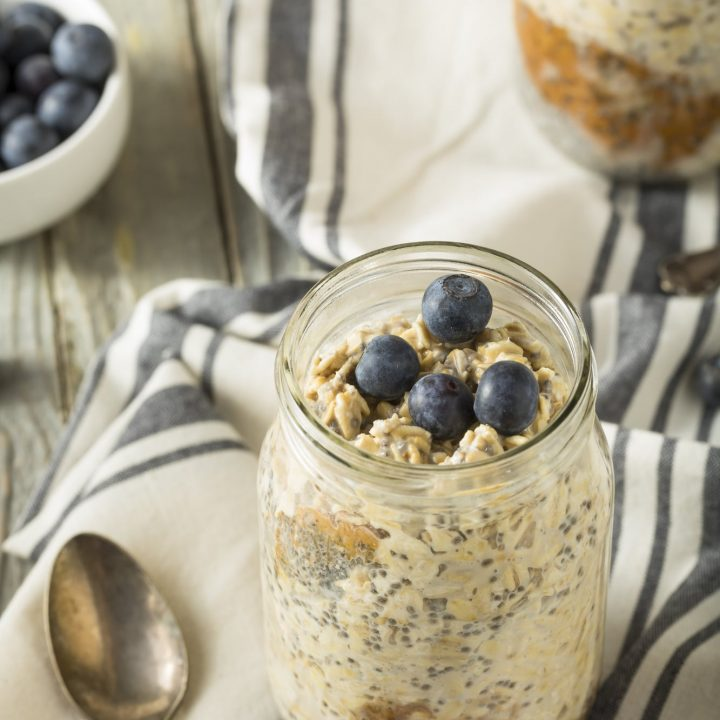 overnight oats in a jar on a towel