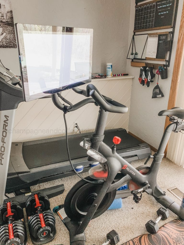 pivot on the peloton bike in a home gym