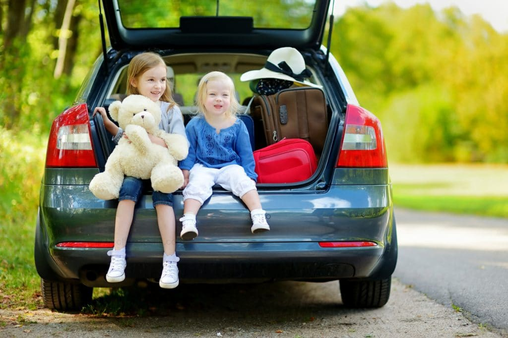 two kids sitting in the trunk of a blue car ready for a road trip!