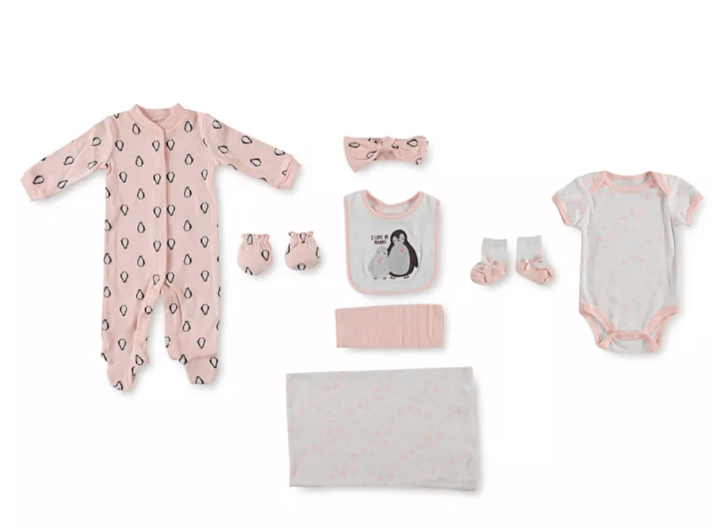 Girls Penguin Baby Clothes Set