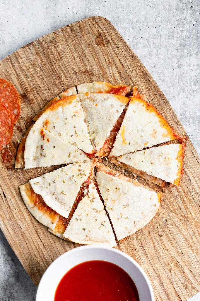 pizza quesadilla on a tray