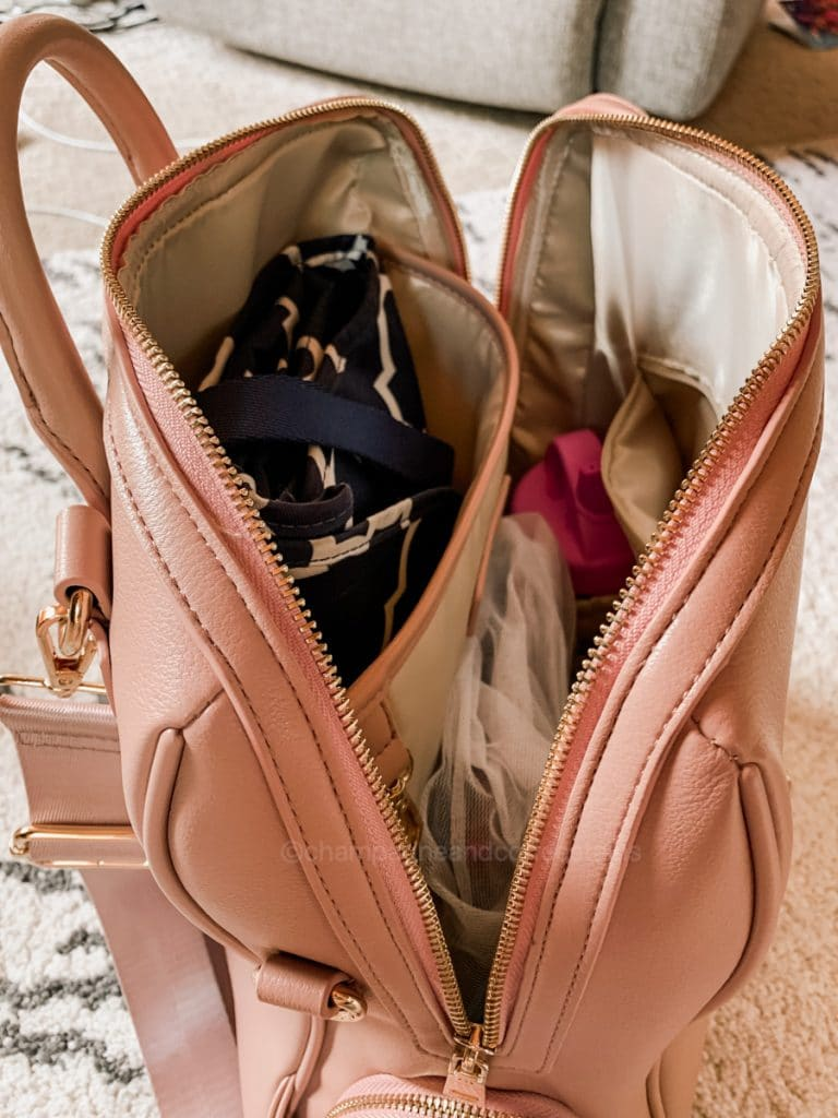 side angle of packed yuuma bag