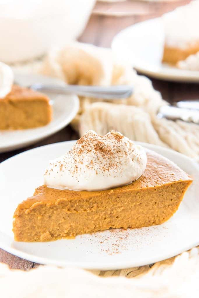 crustless pumpkin pie with whipped cream