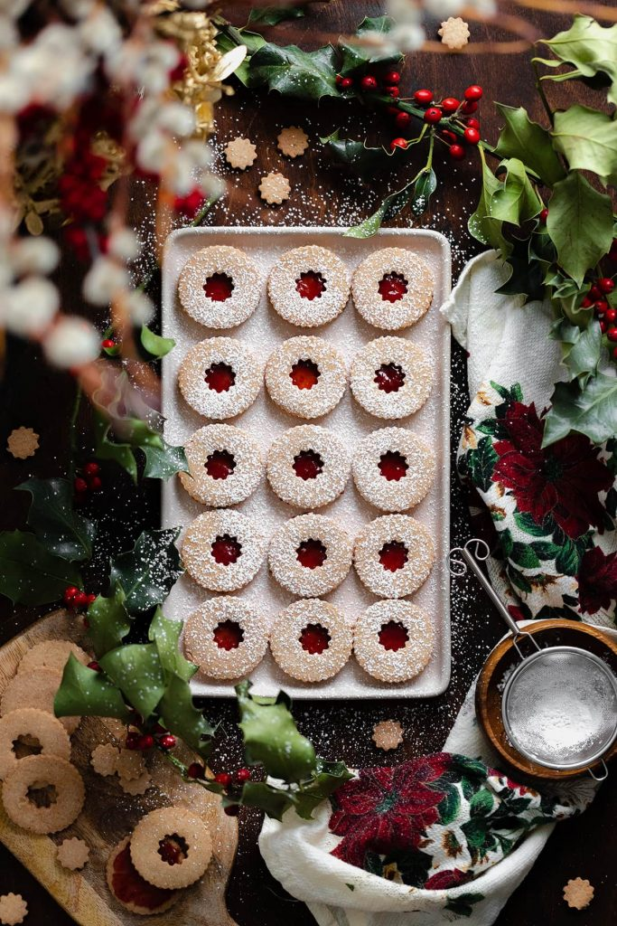 linzer cookies on a tray