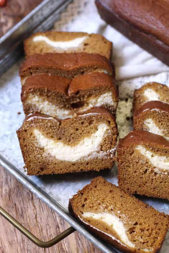 pumpkin cream cheese bread slices