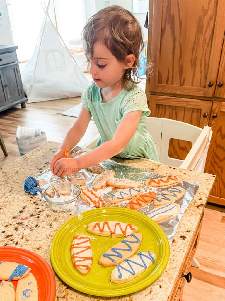 decorating the foodstirs surfboard cookies
