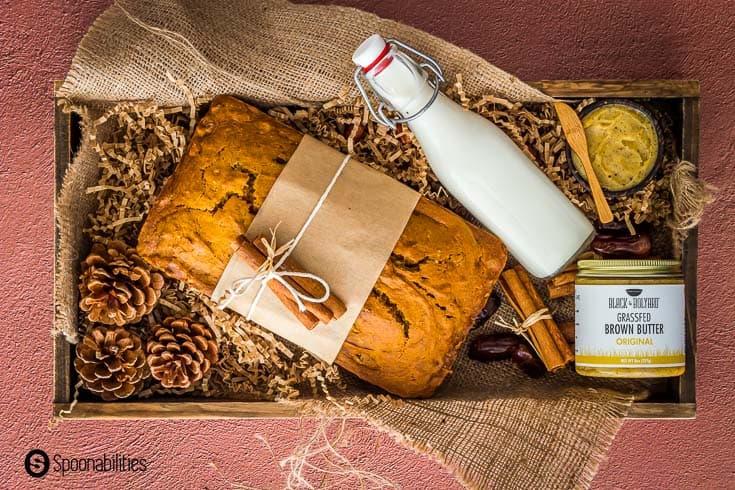 pumpkin bread in a gift basket