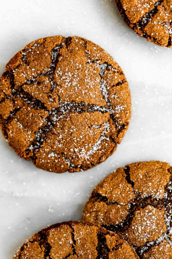 close up of molasses cookies