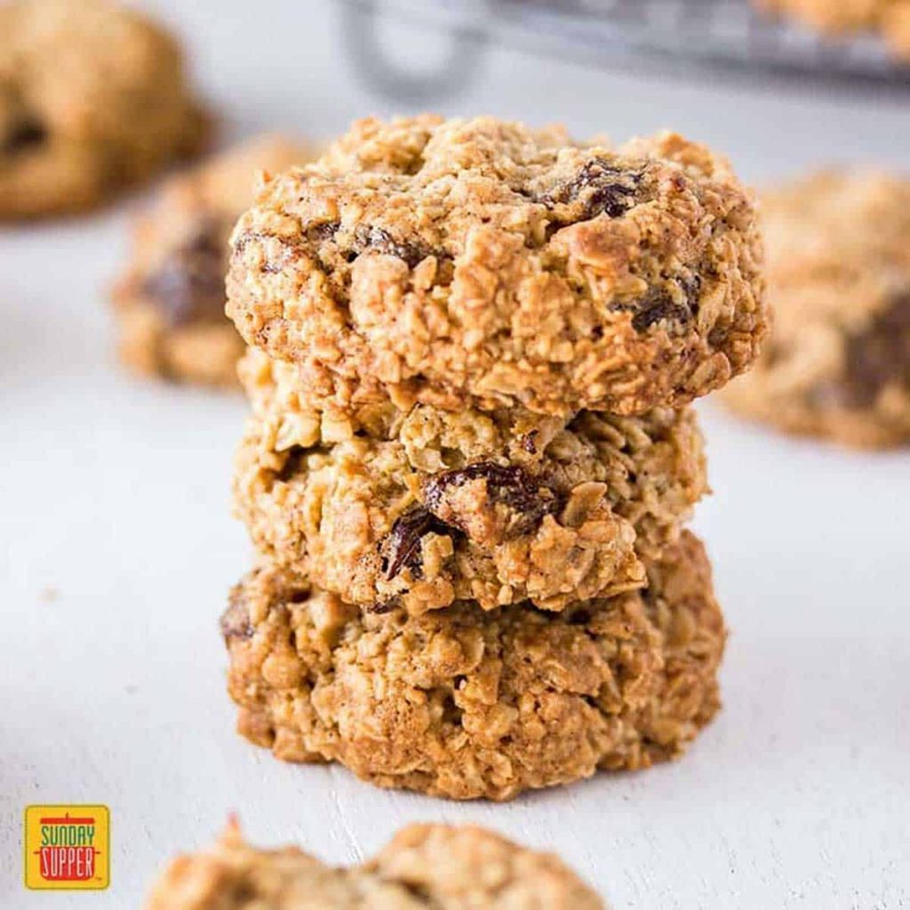 oatmeal raisin cookies in a stack