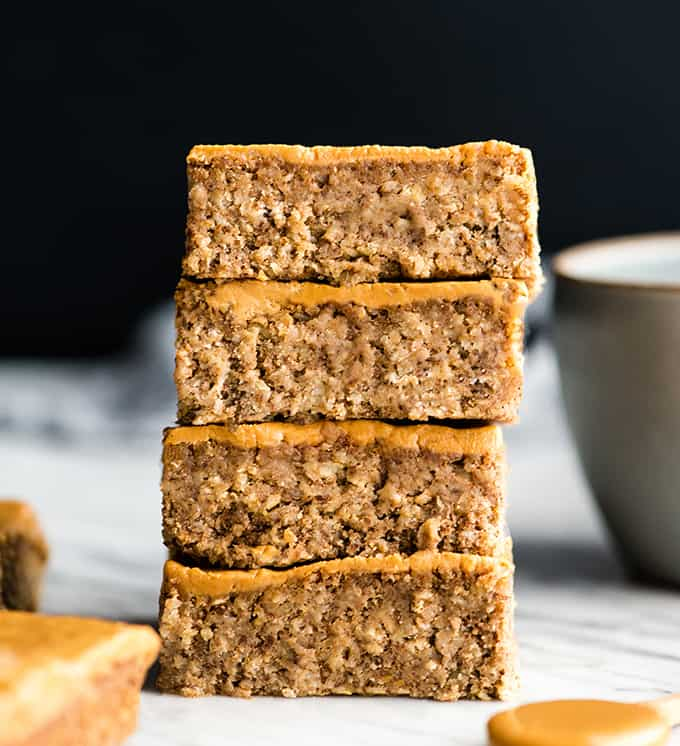 slices of peanut butter oatmeal breakfast bars