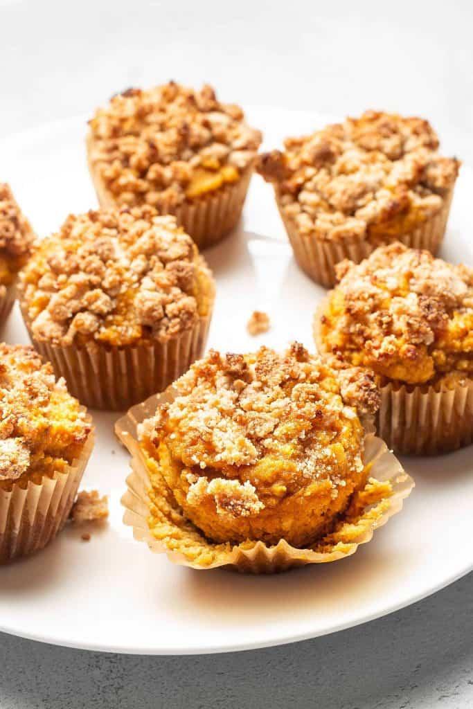pumpkin pie muffins on a plate