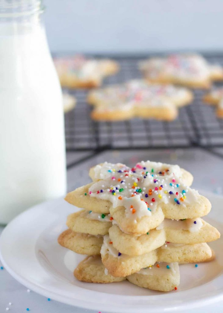 stacked sugar cookies on a plate