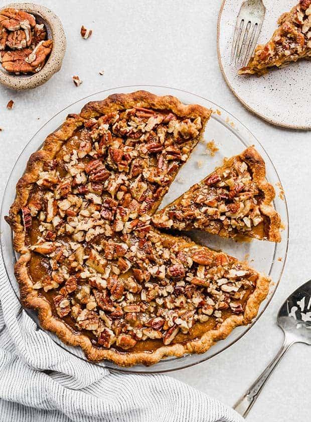slice of praline pumpkin pie