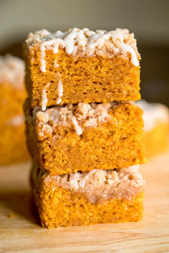 pumpkin coffee cake slices stacked