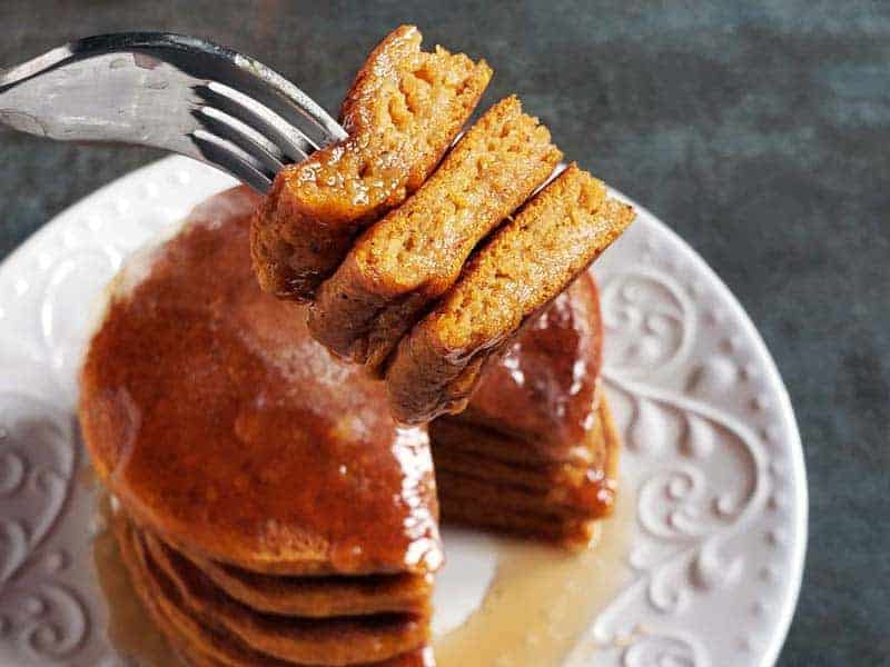pumpkin pancakes with a bite missing