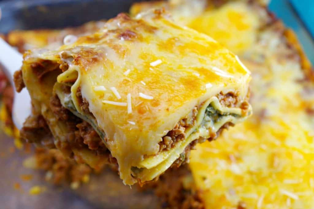 slice of meat lasagna