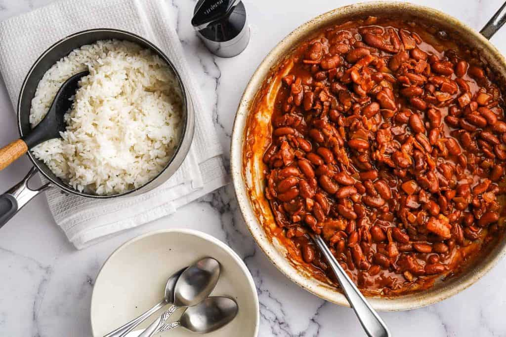 red beans and rice inside a dish
