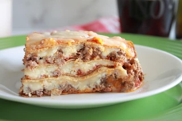 slice of keto lasagna on a white plate