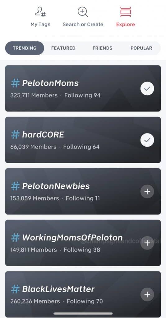 trending peloton hashtags