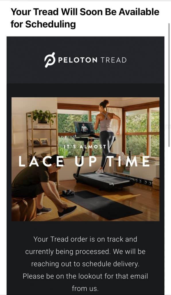 peloton treadmill delivery e-mail